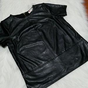 LOFT Vegan Faux Leather Shirt XSP
